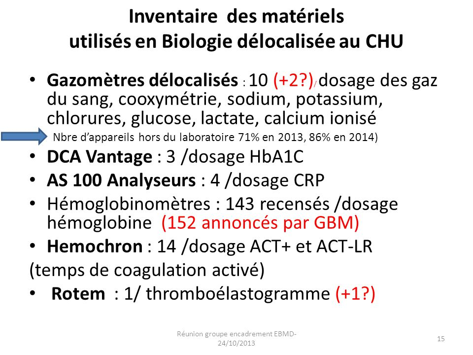 Inventaire des matériels utilisés en Biologie délocalisée au CHU