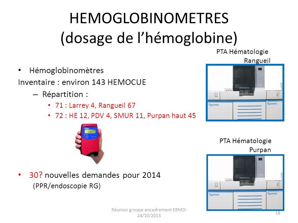 HEMOGLOBINOMETRES (dosage de l'hémoglobine)