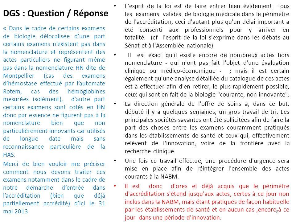 DGS : Question / Réponse