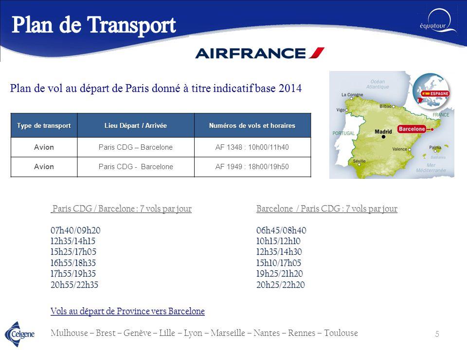 Numéros de vols et horaires