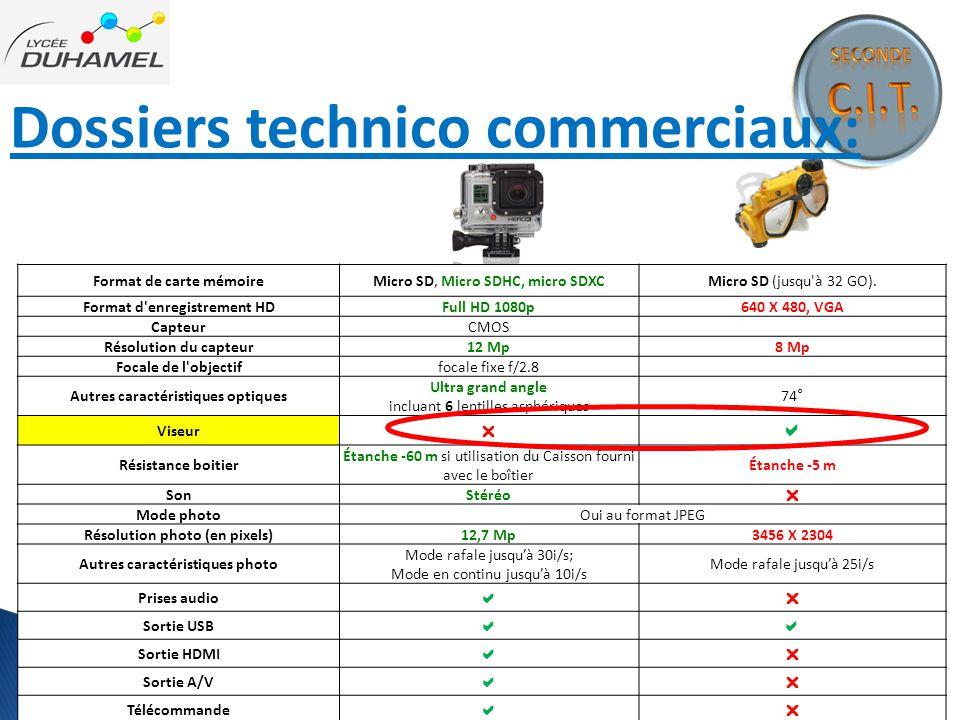 Dossiers technico commerciaux: