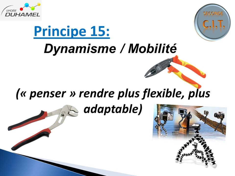 (« penser » rendre plus flexible, plus adaptable)