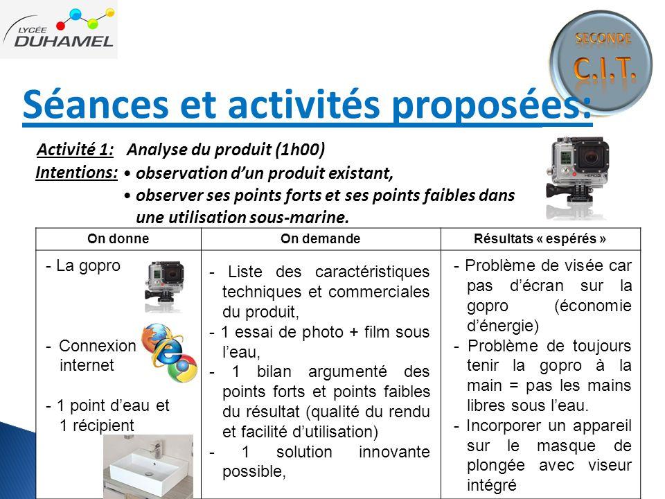 Séances et activités proposées: