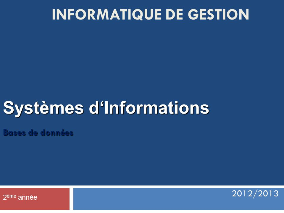 Systèmes d'Informations