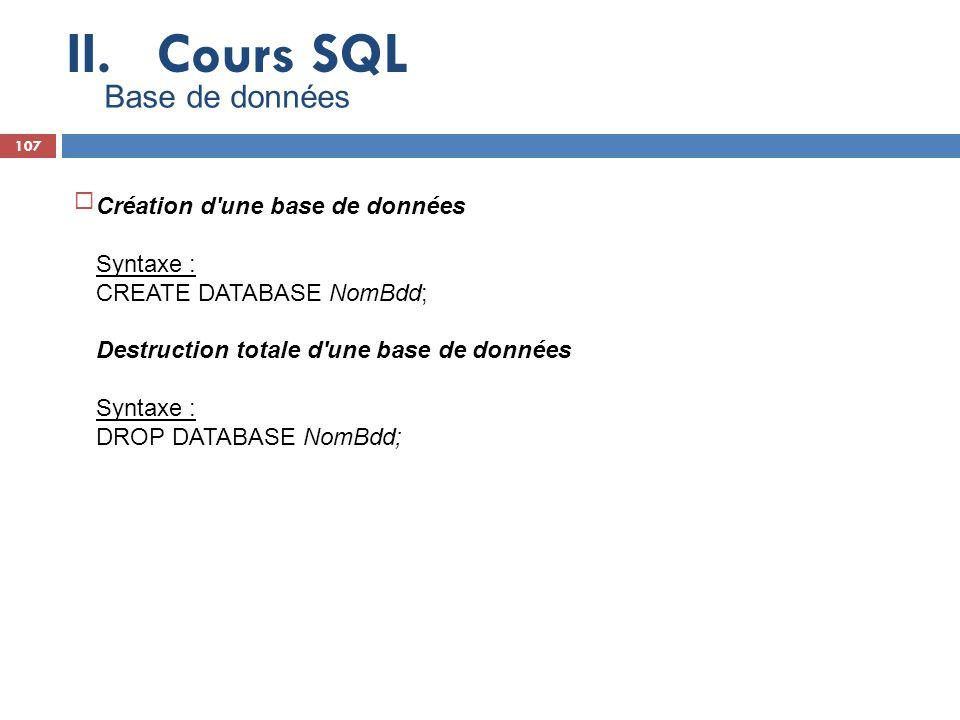Cours SQL Base de données Création d une base de données Syntaxe :