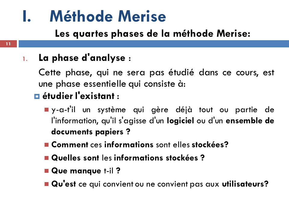 Méthode Merise Les quartes phases de la méthode Merise: