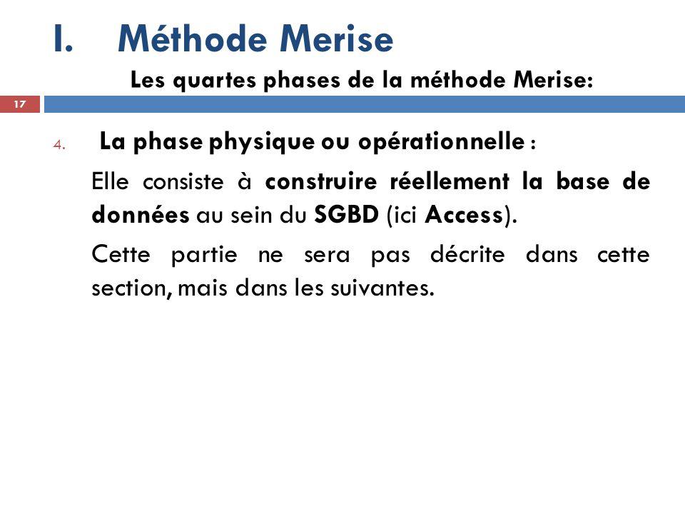 Méthode Merise La phase physique ou opérationnelle :