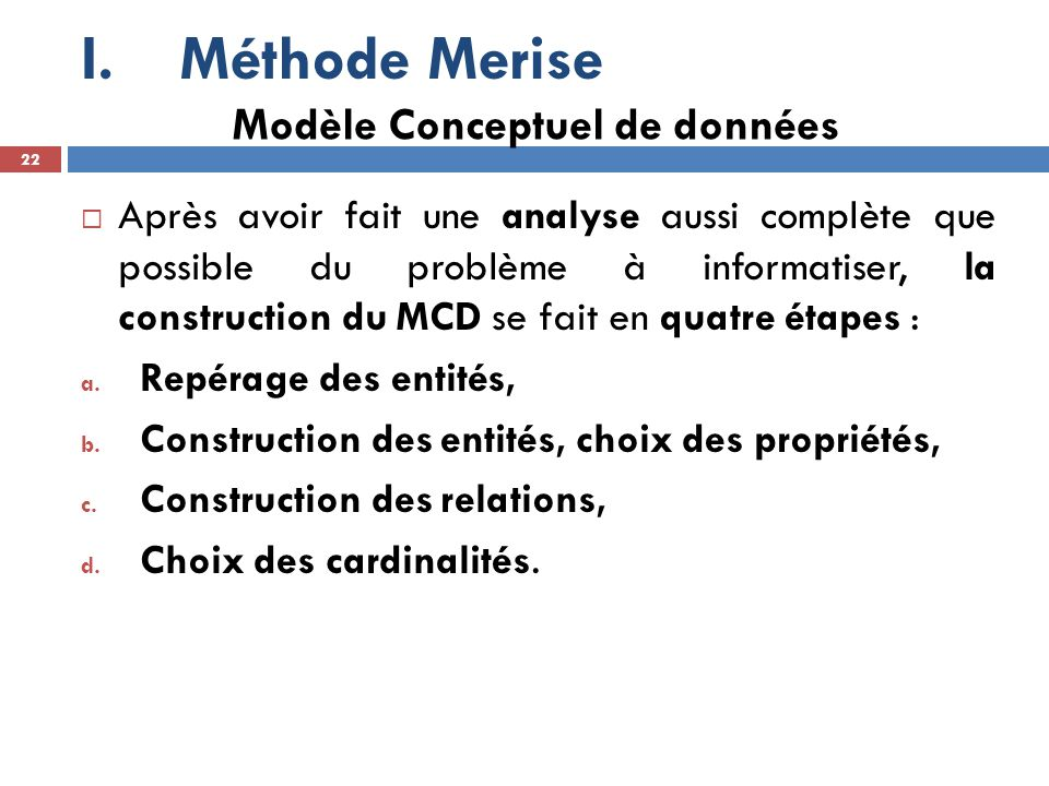 Méthode Merise Modèle Conceptuel de données