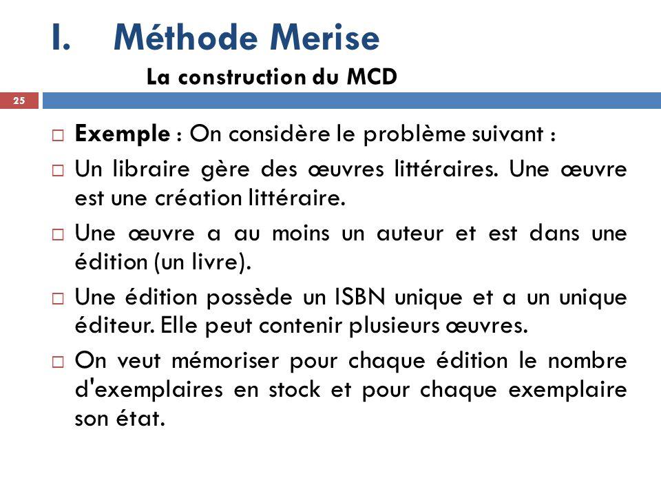 Méthode Merise Exemple : On considère le problème suivant :