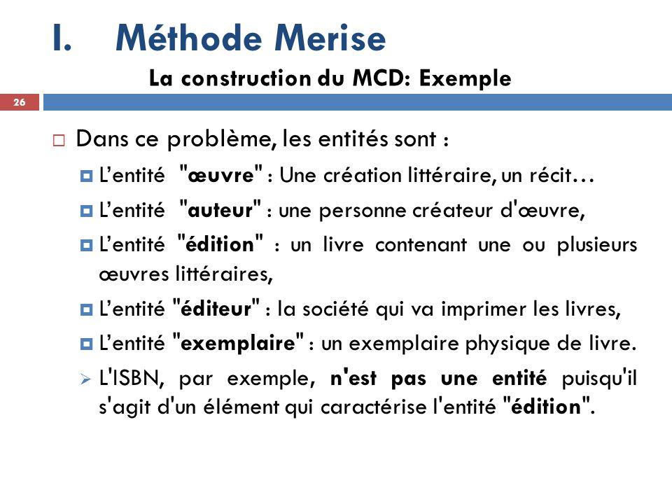 Méthode Merise Dans ce problème, les entités sont :