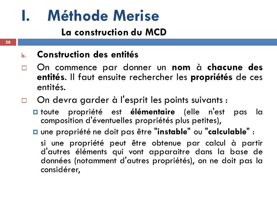 Méthode Merise La construction du MCD Construction des entités