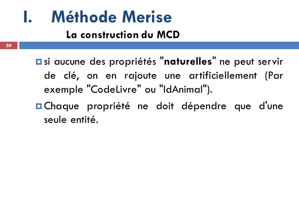 Méthode Merise La construction du MCD