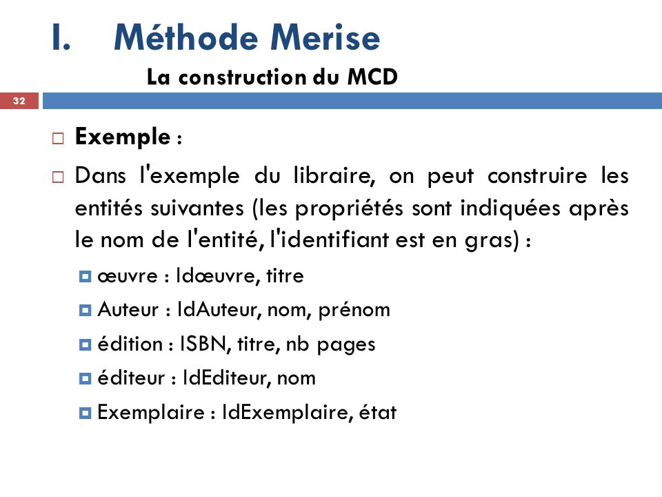 Méthode Merise Exemple :