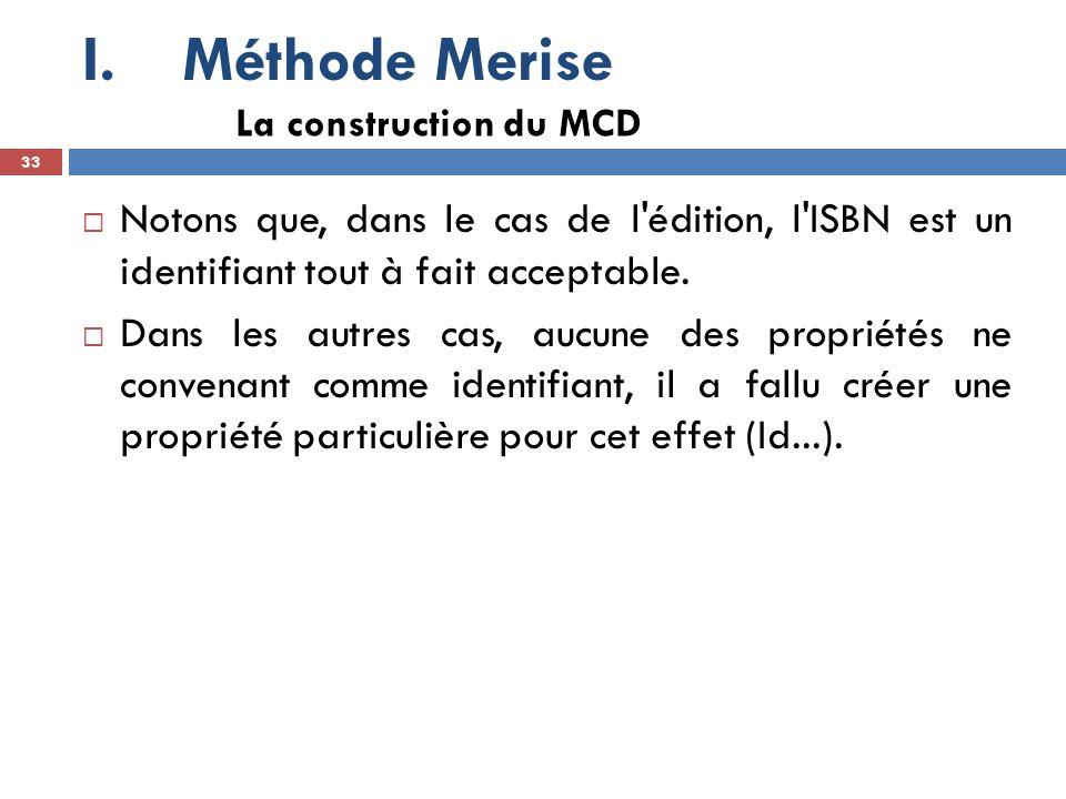 Méthode Merise La construction du MCD. Notons que, dans le cas de l édition, l ISBN est un identifiant tout à fait acceptable.