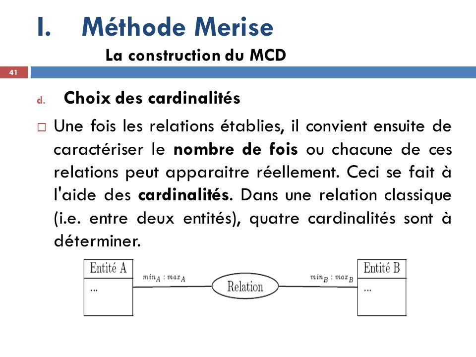 Méthode Merise Choix des cardinalités