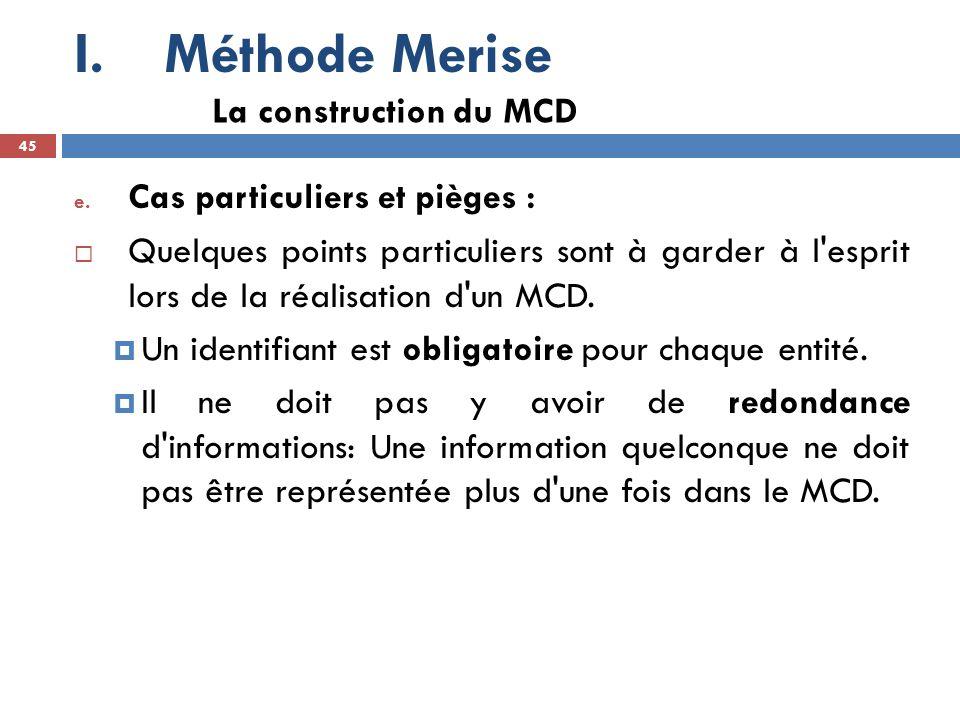 Méthode Merise La construction du MCD Cas particuliers et pièges :