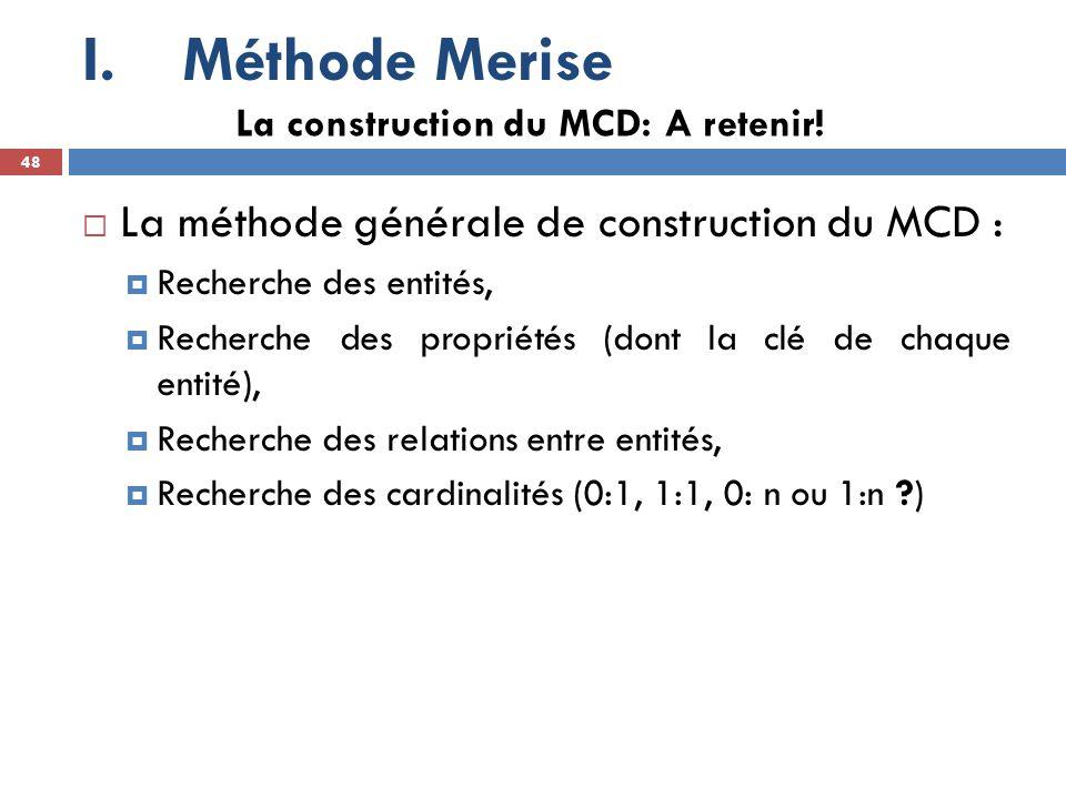 Méthode Merise La méthode générale de construction du MCD :