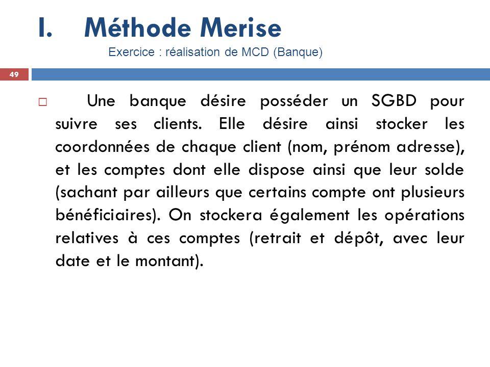 Méthode Merise Exercice : réalisation de MCD (Banque) 49.