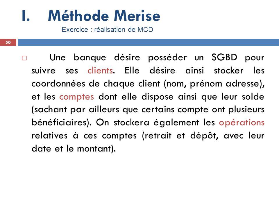 Méthode Merise Exercice : réalisation de MCD. 50.
