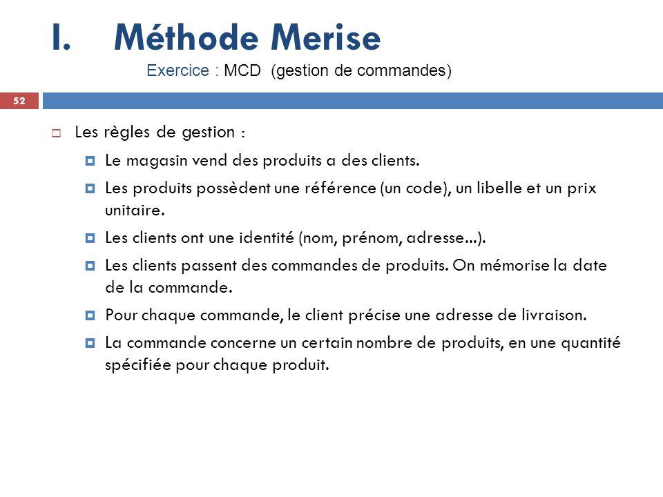 Méthode Merise Les règles de gestion :