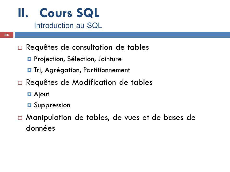 Cours SQL Requêtes de consultation de tables