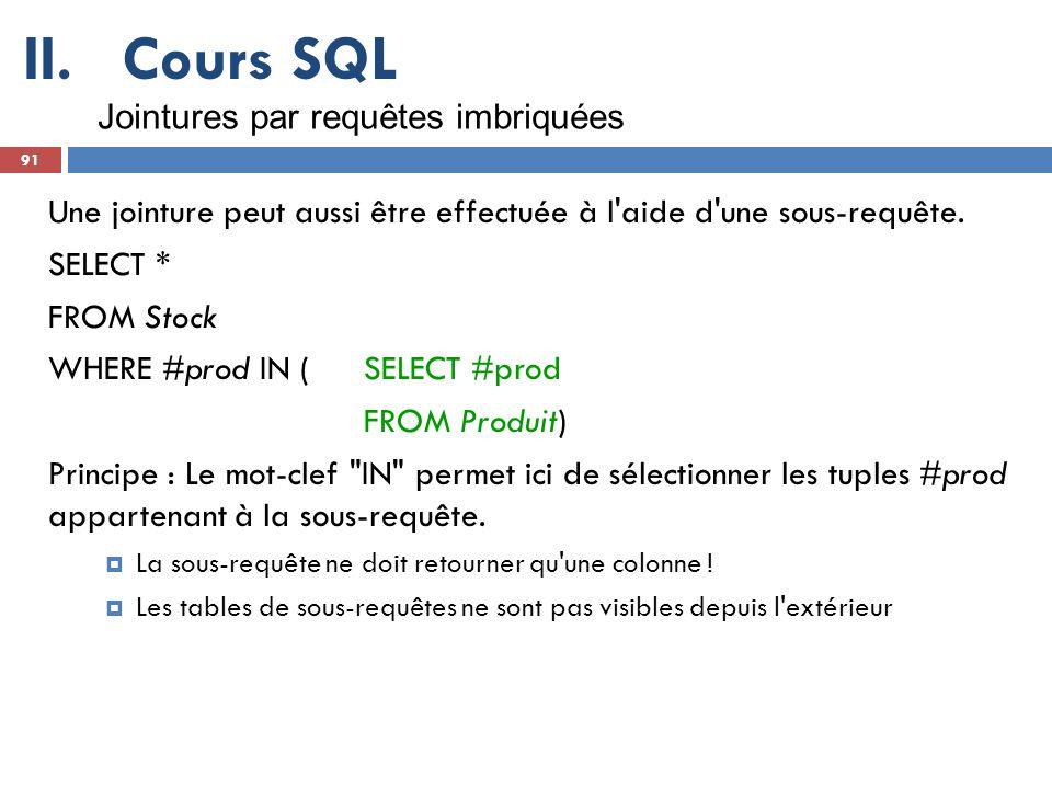 Cours SQL Jointures par requêtes imbriquées