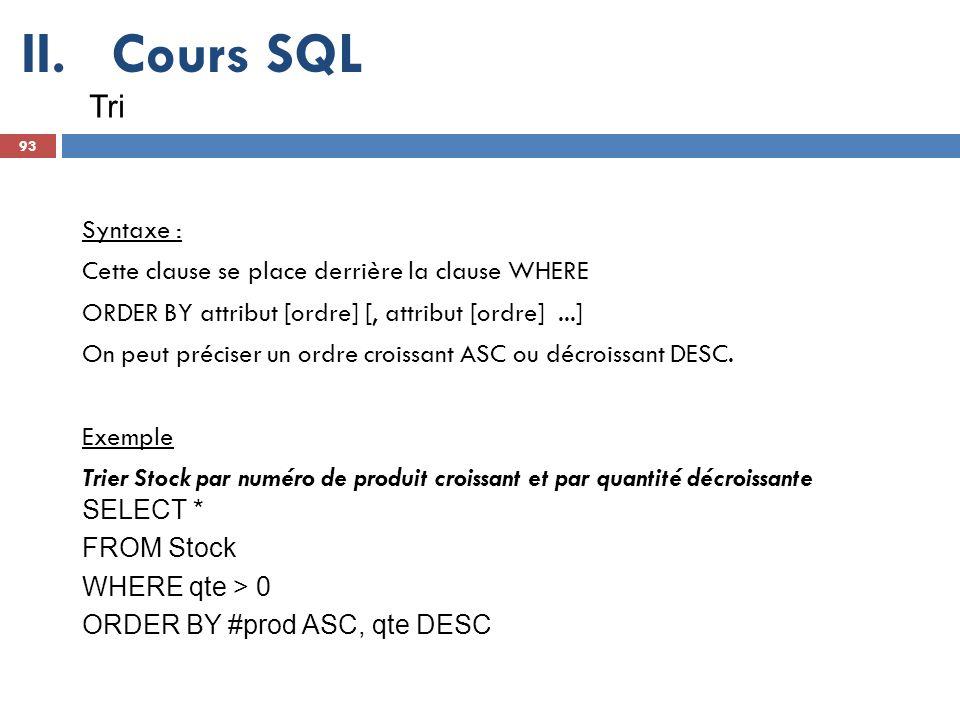 Cours SQL Tri Syntaxe : Cette clause se place derrière la clause WHERE