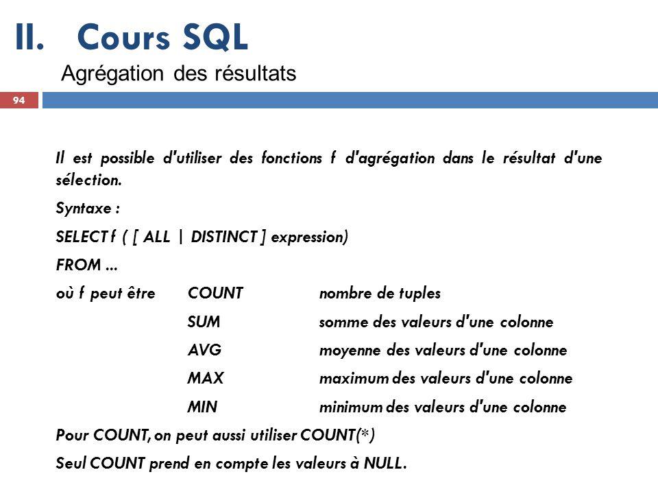 Cours SQL Agrégation des résultats