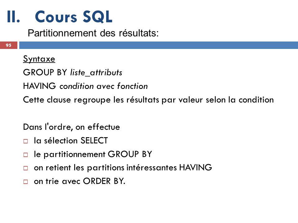 Cours SQL Partitionnement des résultats: Syntaxe
