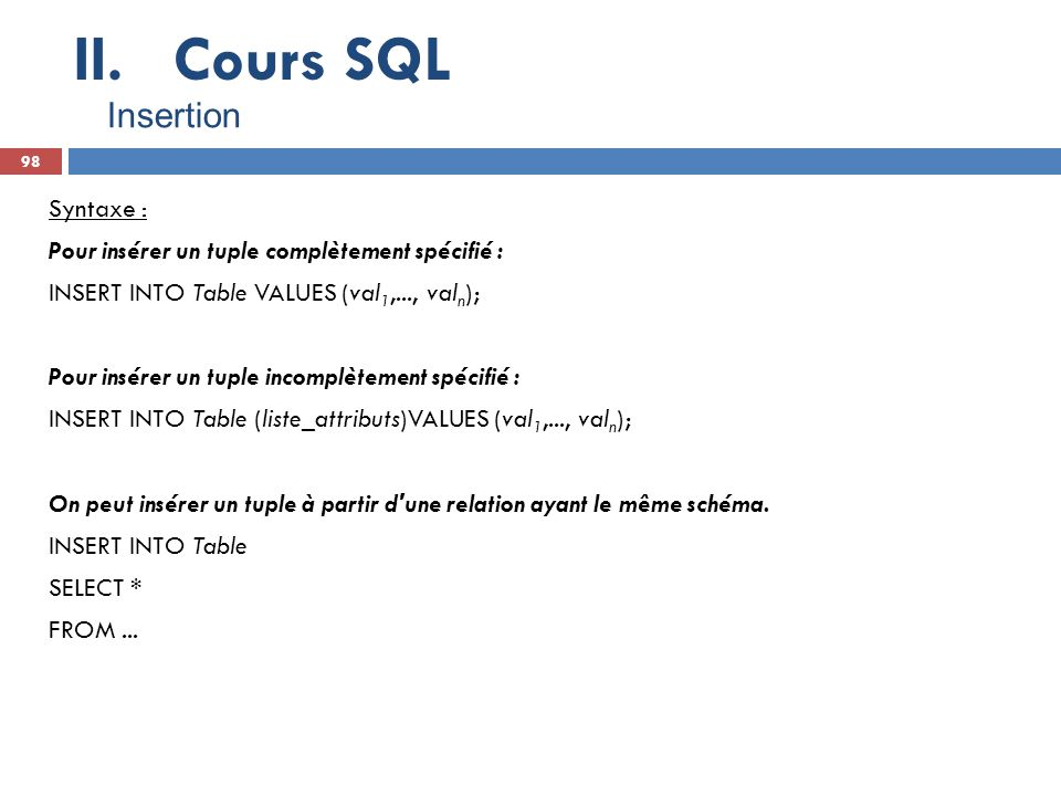 Cours SQL Insertion.