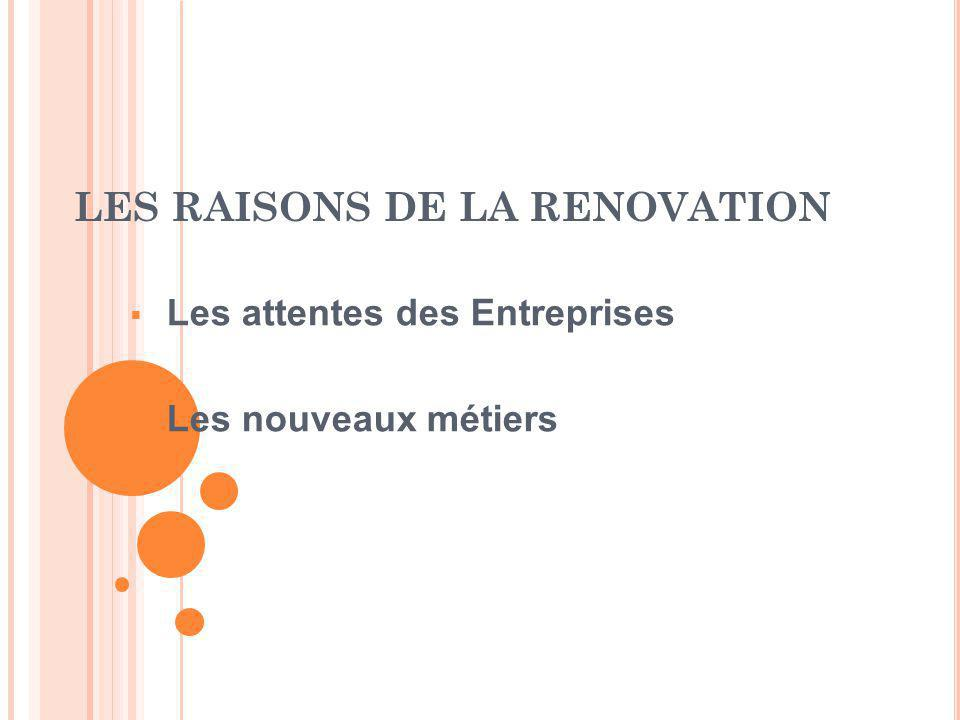 LES RAISONS DE LA RENOVATION