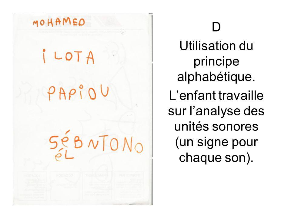 Utilisation du principe alphabétique.
