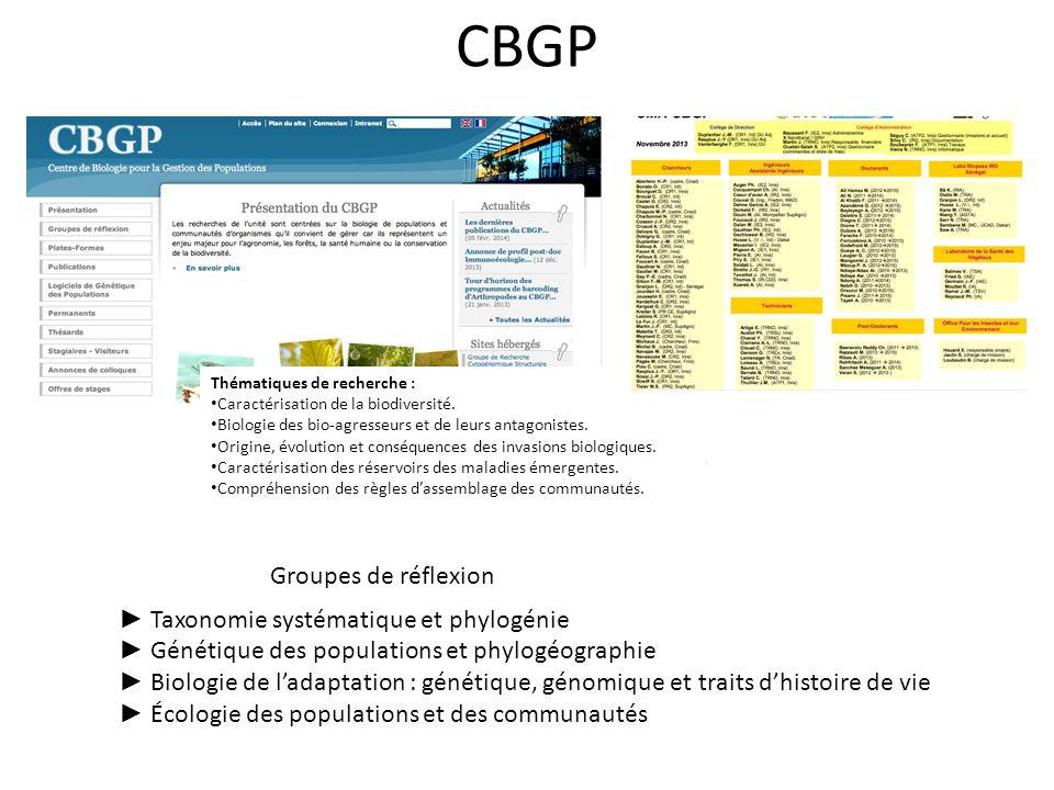 CBGP Groupes de réflexion ► Taxonomie systématique et phylogénie
