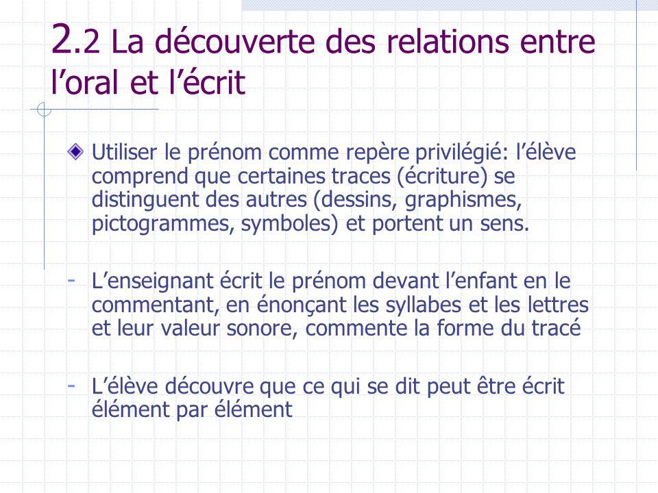 2.2 La découverte des relations entre l'oral et l'écrit
