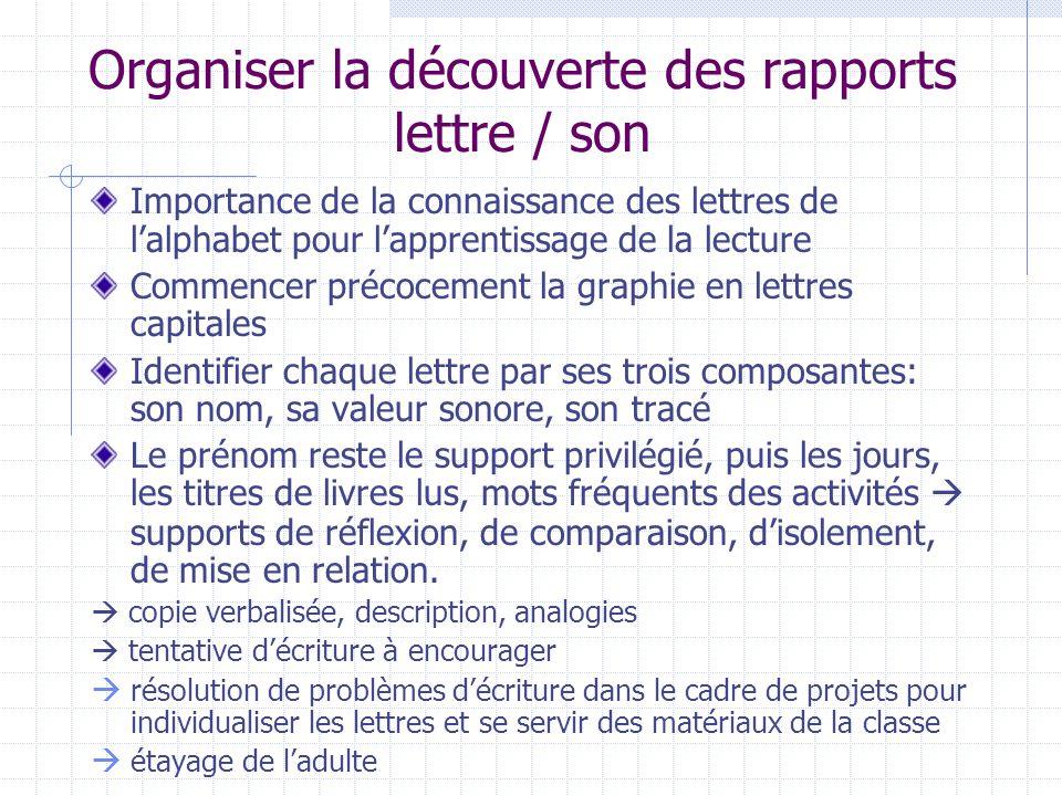 Organiser la découverte des rapports lettre / son