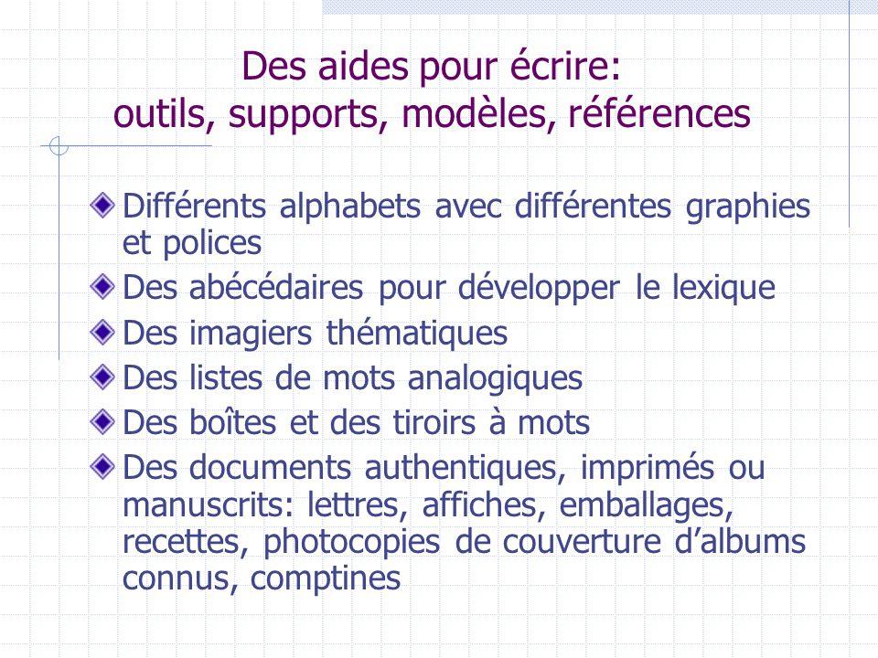 Des aides pour écrire: outils, supports, modèles, références