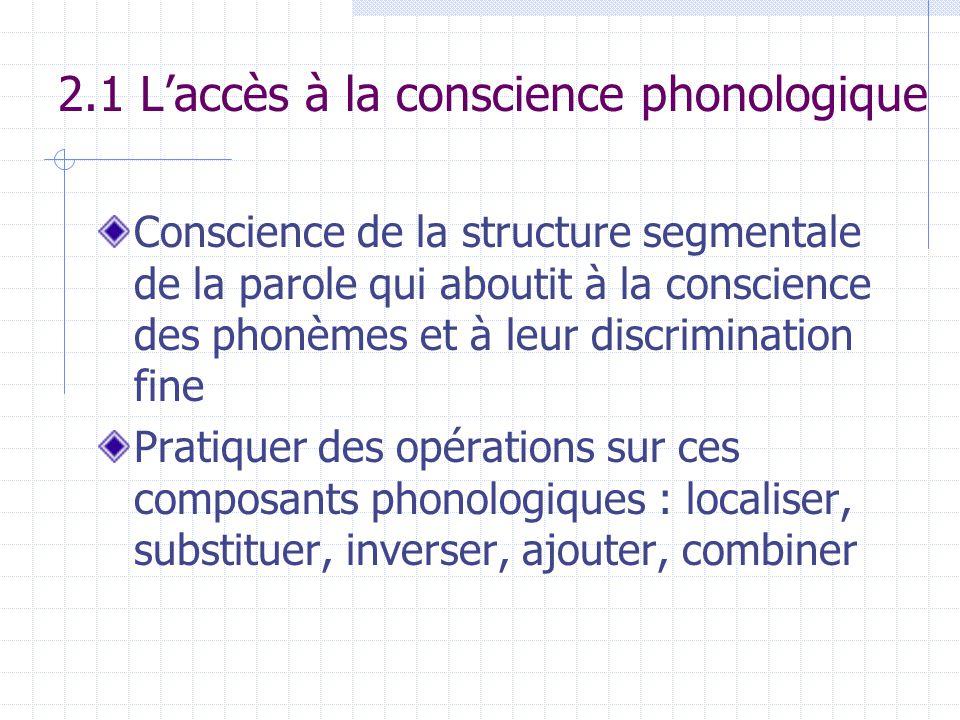 2.1 L'accès à la conscience phonologique