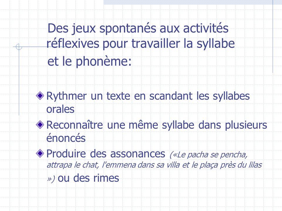 Des jeux spontanés aux activités réflexives pour travailler la syllabe