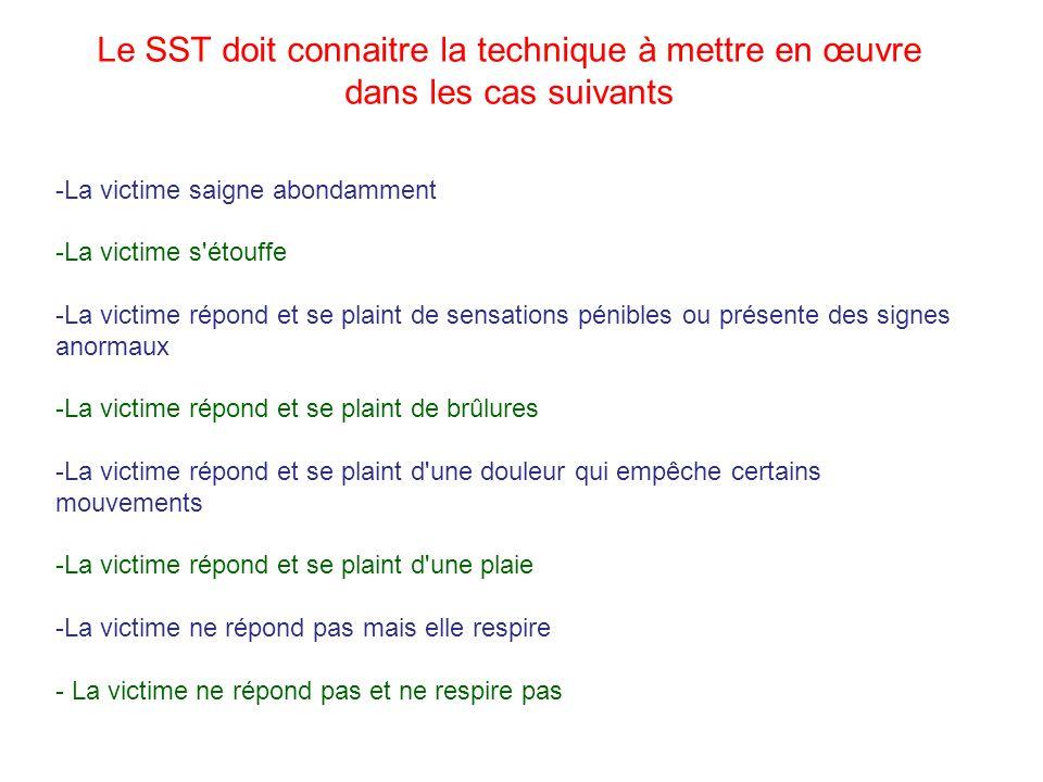 Le SST doit connaitre la technique à mettre en œuvre dans les cas suivants