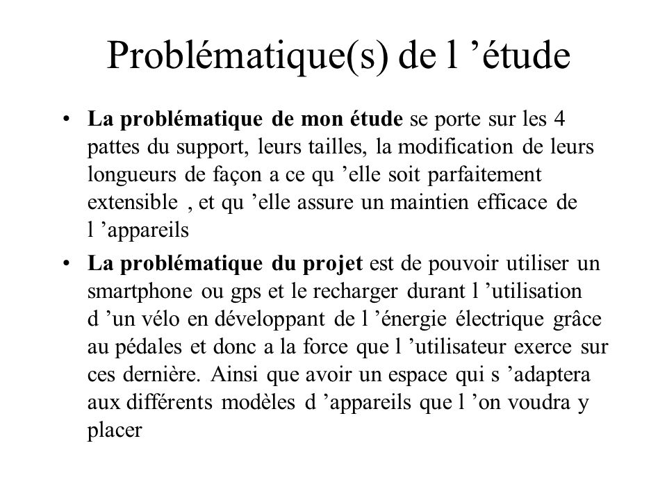 Problématique(s) de l 'étude