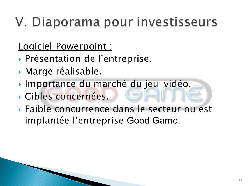 V. Diaporama pour investisseurs