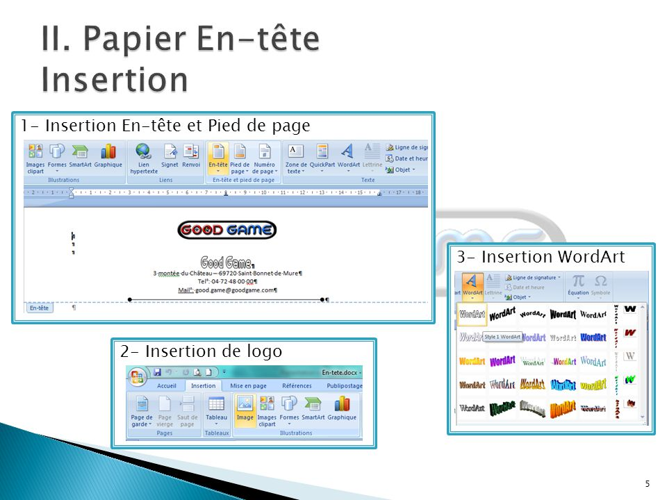 II. Papier En-tête Insertion