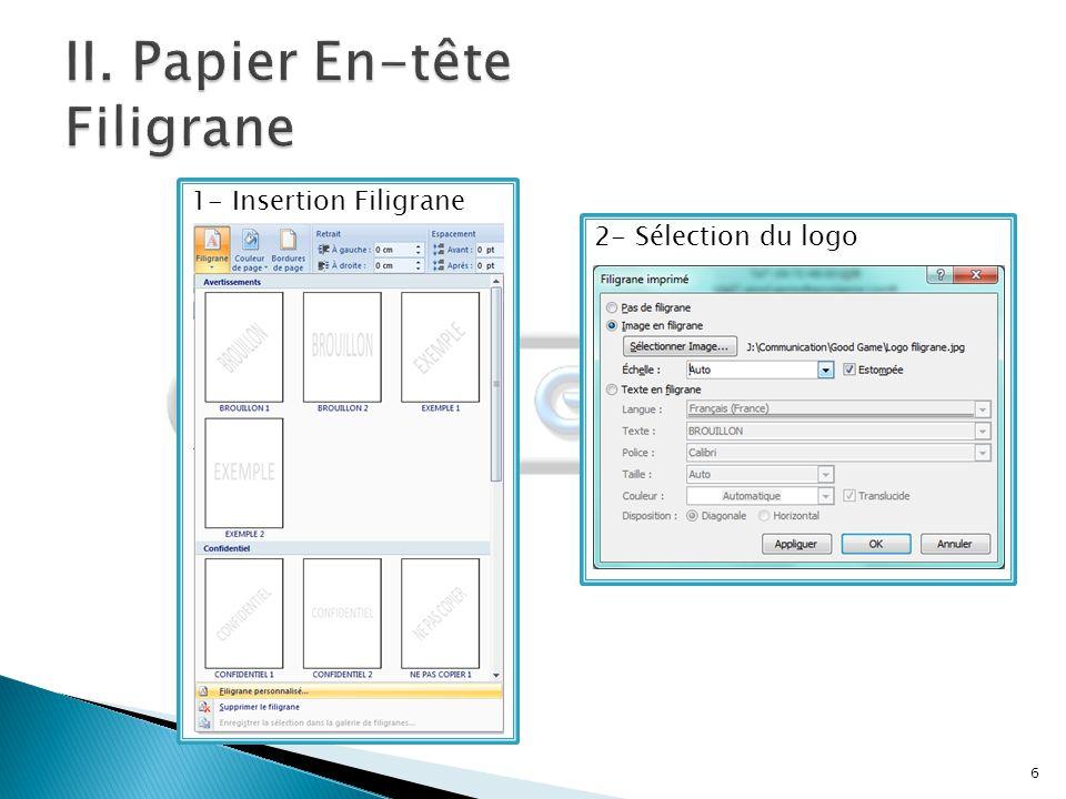 II. Papier En-tête Filigrane