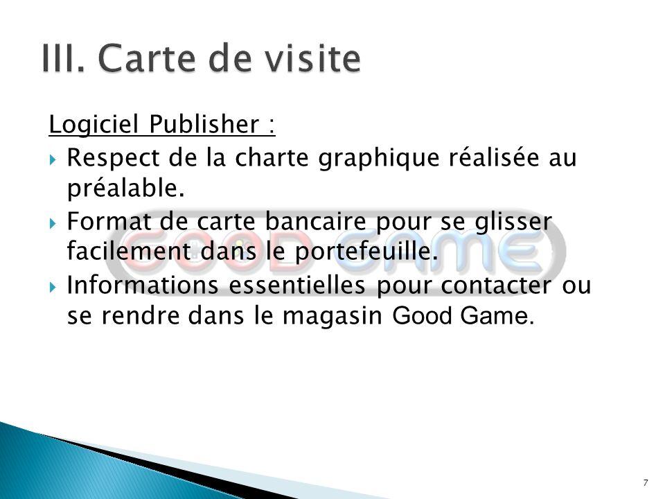 III. Carte de visite Logiciel Publisher :