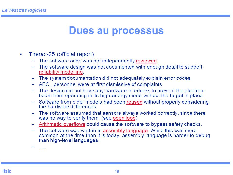 Dues au processus Therac-25 (official report)