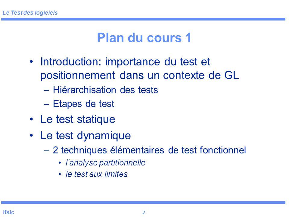 Plan du cours 1 Introduction: importance du test et positionnement dans un contexte de GL. Hiérarchisation des tests.