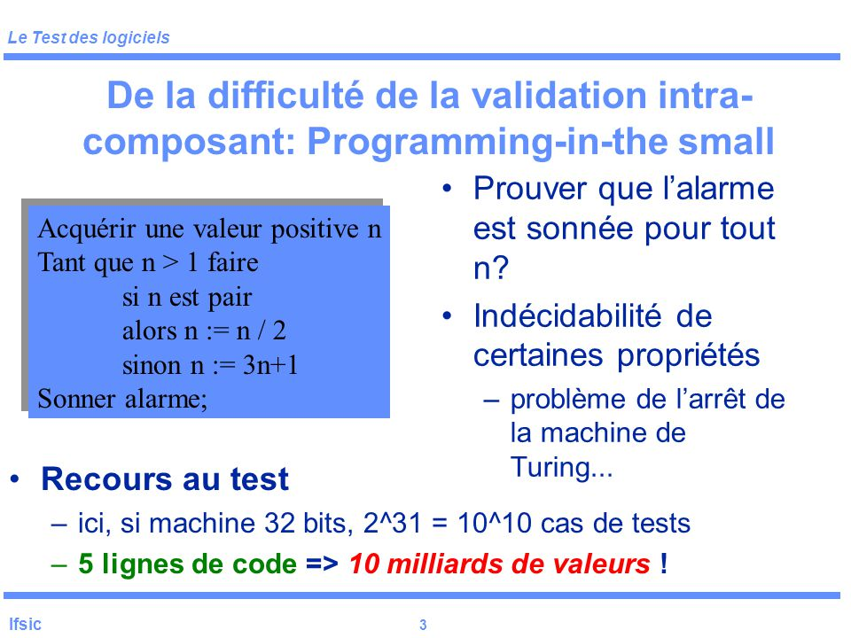 De la difficulté de la validation intra-composant: Programming-in-the small