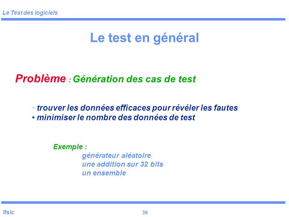 Le test en général Problème : Génération des cas de test