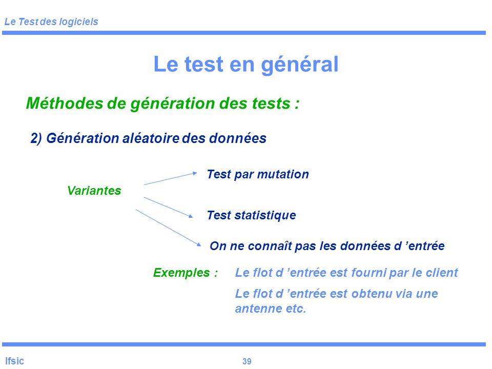 Le test en général Méthodes de génération des tests :