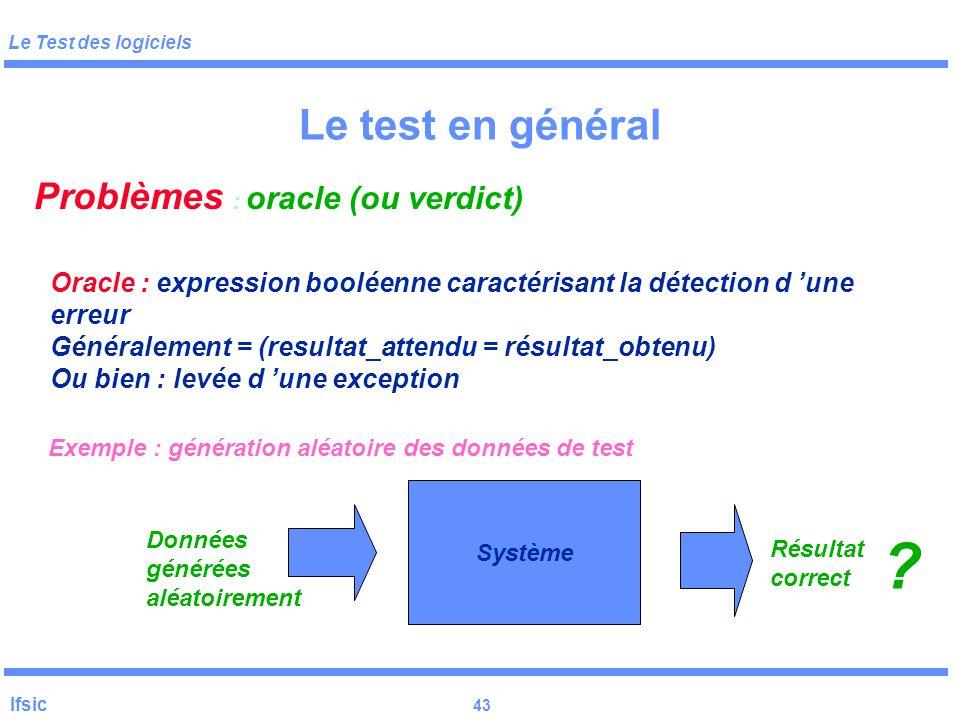 Le test en général Problèmes : oracle (ou verdict)
